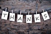 stock photo of thankful  - The Word Thanks on White Labels on Wood - JPG