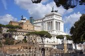 foto of emanuele  - view of the monument to Vittorio Emanuele from the ruins of famous ancient Roman Forum - JPG