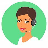 image of telephone operator  - Female call centre operator with headset - JPG