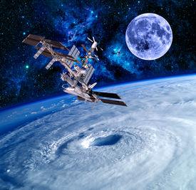 pic of spaceships  - Earth satellite space station spaceship sky stars - JPG