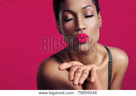 Closeup Portrait, Woman Sending Kiss