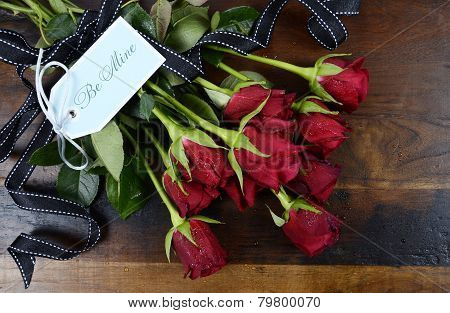 Happy Valentine's Day Red Roses On Dark Recycled Wood Background - Overhead With Be Mine Pale Blue G