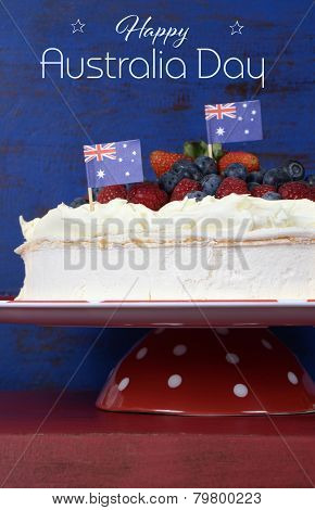 Australian Traditional Dessert, Pavlova, With Whipped Cream And Strawberries, Blueberries And Raspbe