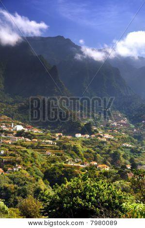 Madeira mountain scenery, Lombo da Serra dos Judeus - Portugal. View of Pico de Selada, Pico da Esca