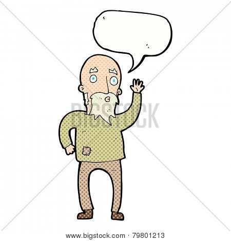 cartoon old man asking question