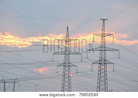 Power Line At Sunset