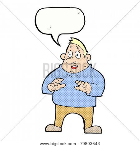 cartoon excited overweight man with speech bubble