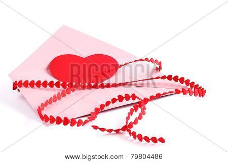 Envelope With Red Hearts Ribbon