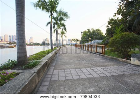 Perspective Of Walking Way In Public Park Heart Of Bangkok Thailand