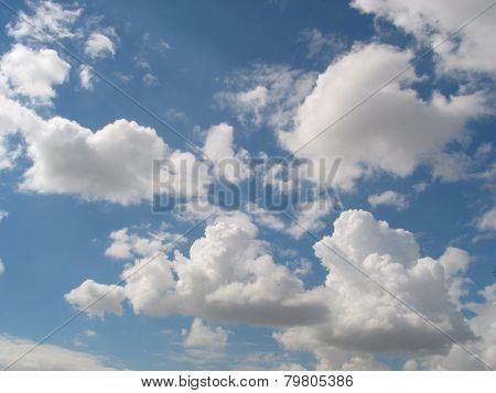 Cumulus clouds and blue sku