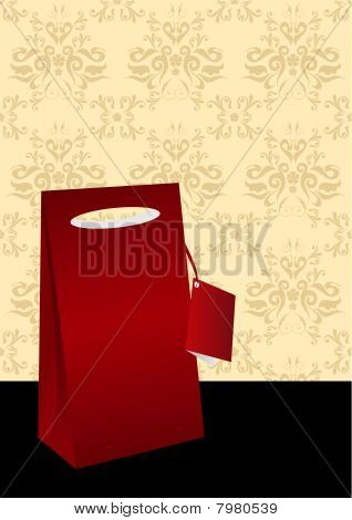 Illustration of a shopping bag, isolated on detailed grunge background