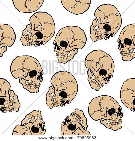 skull seamless pattern on white