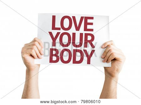 Love Your Body card isolated on white background