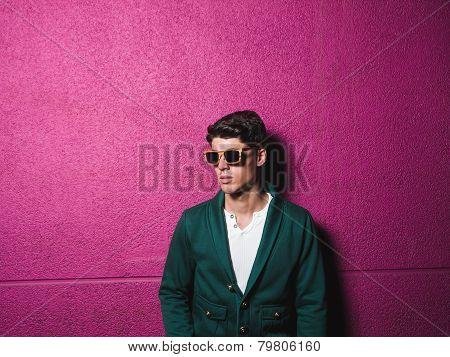 Model Portrait With Sunglasses Over Fuchsia