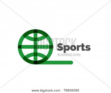 Line minimal design logo, business icon ball sports