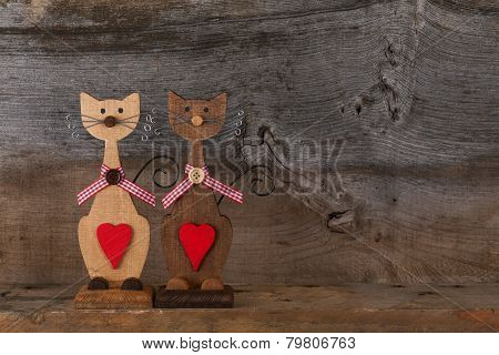 Two Valentines Love Wooden Cat Shapes With Red Heart Decoration
