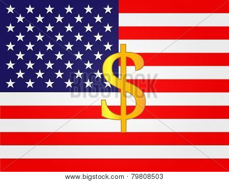 Dollar Currency Sign On The Center Of The United States Flag