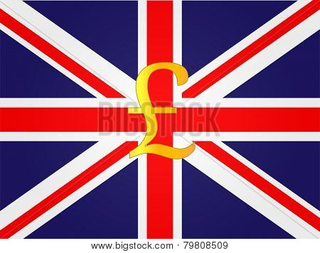 Pound Currency Sign On The Center Of The British Flag