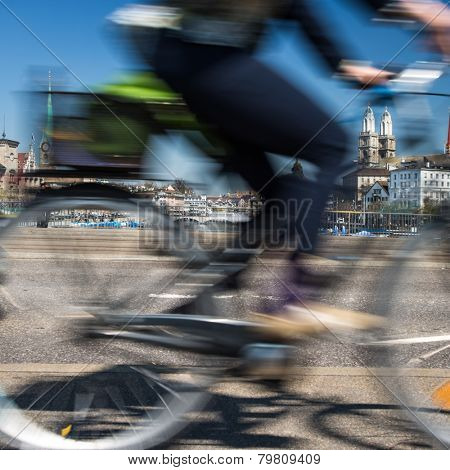 Zurich cityscape with motion blurred city traffic