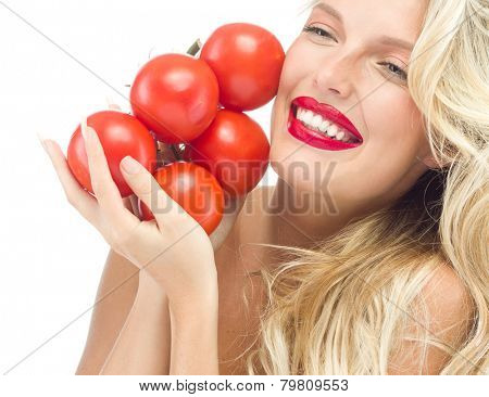 portrait of attractive  caucasian smiling woman isolated on white studio shot with tomatos