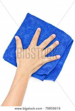Man's Hand Wiping Surface Isolated On White.