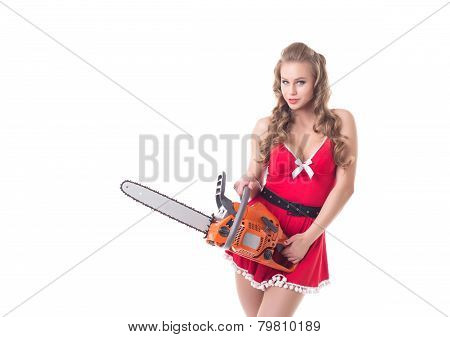 Santa Claus posing with chainsaw