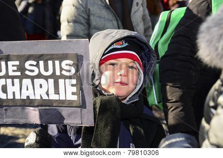 Boy with Je Suis Charlie sign