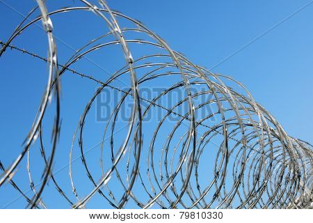 Razor and barbed wire fence concept for security and protection