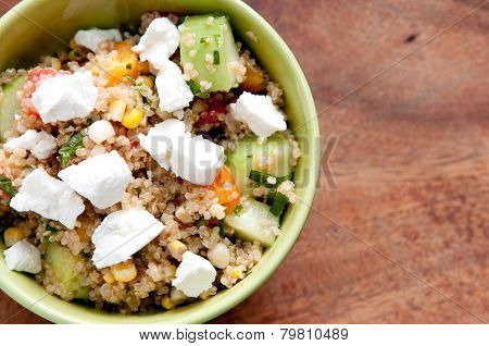 Gluten Free Vegetarian Salad Made With Quinoa And Fresh Heirloom Tomatoes