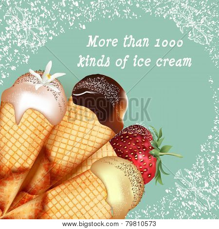 Advertising Poster With Realistic Ice Cream Retro Style