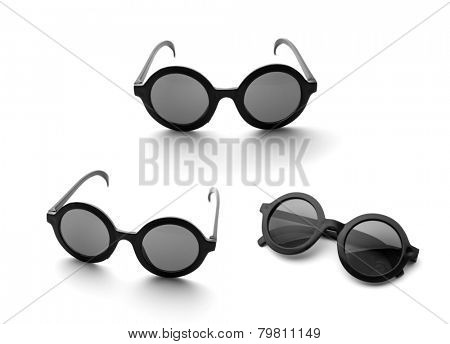 Black round glasses isolated on white
