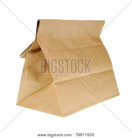 Lunch Brown Recycle Paper Bag Isolated On White Background.