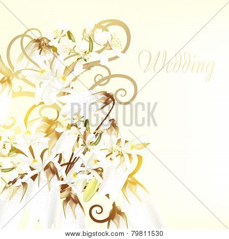 Beautiful Wedding Card With White Flowers.ai