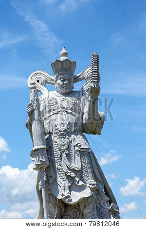 The stand chinese god building by stone