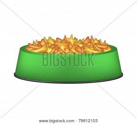 Animal food in green bowl