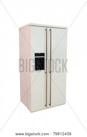 large double door refrigerator isolated under the white background