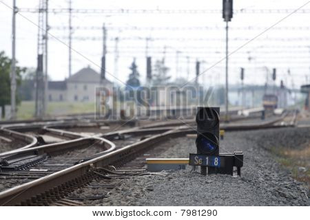 Railroad Track With Trains