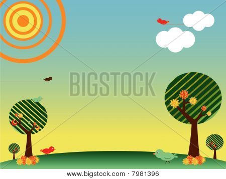 Retro spring landscape with birds and trees