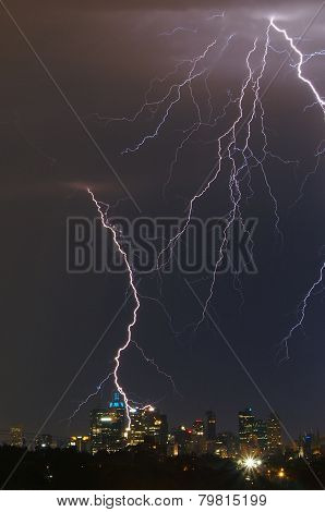 Lightning Over City Skyline