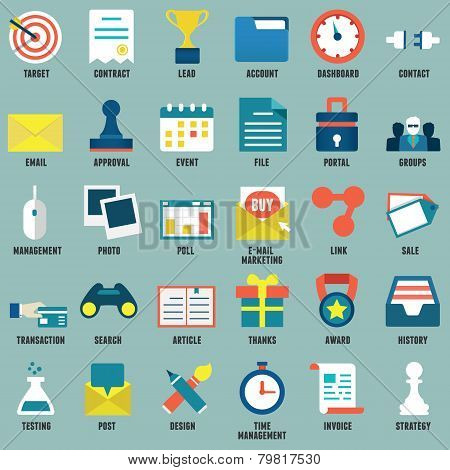 Set Of Flat Business, Commerce, Internet Service Icons For Design - Part 1