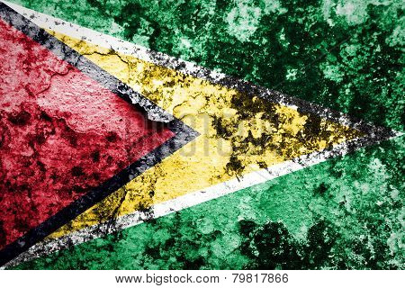 Guyana Flag painted on grunge wall