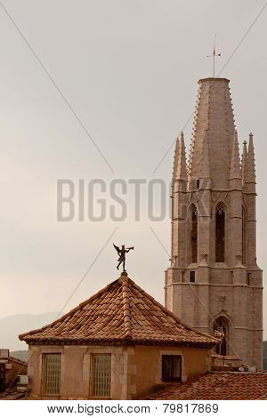 Tower Of St. Feliu Church And Weather Vane in Girona