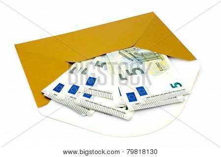 Envelope With Money On White Background