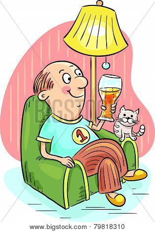 Man drinking beer in an arm-chair