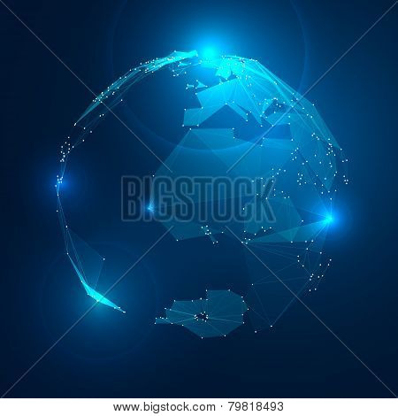 Abstract Illustration of Planet Earth in Space. Stock Vector
