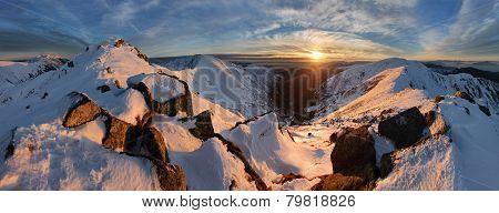 Panorama Winter Mountain Landscape - Slovakia, Low Tatras