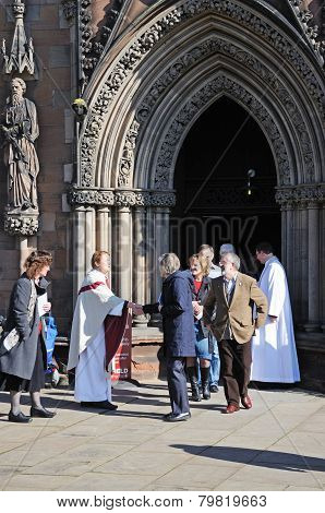 Clergymen meeting congregation, Lichfield.