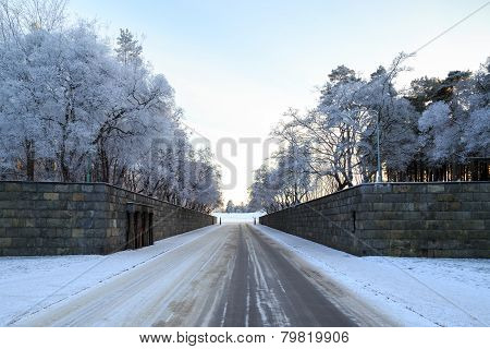 Winter view of entrance to Woodland Cemetery in Stockholm