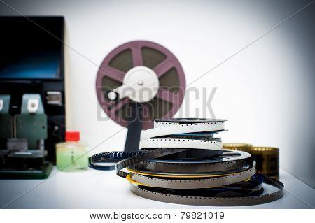 A Vintage 8Mm Movie Editing Desktop With Reels And Elements In Out Of Focus Background