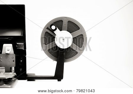 Vintage 8Mm Movie Editing Desktop In Black And White